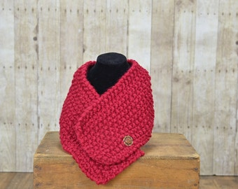 One Button Scarf in Cranberry