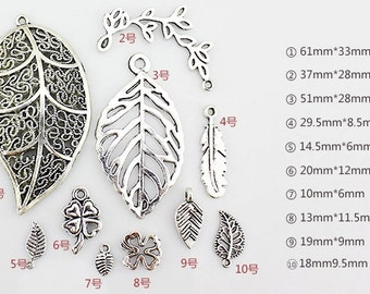 DIY Handmade accessories 10 Items  Tibet Silver Leaves Pendant -- Quantity and Style Free Choice