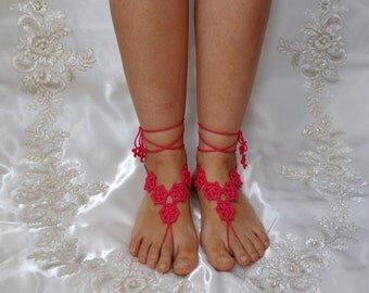 Cotton Crochet Pink Sandals, Barefoot Sandals, Wedding, Bellydance, Yoga, Pool, Lace, Motif, Beach, Nude Shoes, Anklet, Bridal accessories