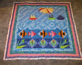 Ocean Scene - Paper Pieced Lap Quilt