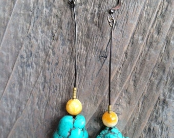 "The ""Blaine"" Earring, Turquoise-Stained Howlite and Yellow Jade"