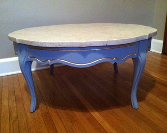 French Provincial Round Marble Coffee Table Mid Century
