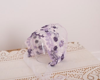 SALE Newborn Lace Bonnet / Newborn Photography Prop / Delicate Purple Lace Tulle Bonnet