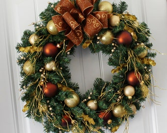 """24"""" Gold and Brown Holiday Wreath"""