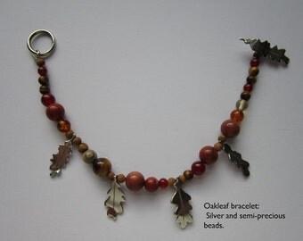 Silver oak leaf bracelet with semi-precious stone beads.