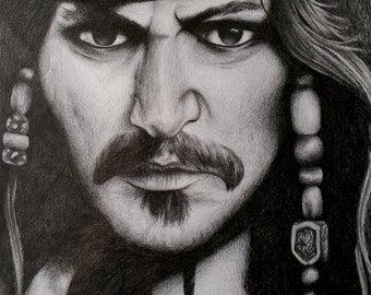 Captain Jack Sparrow Pencil Drawing Portrait Print