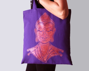 Buddha tote bag, Canvas tote bag, Yoga bag, Buddha yoga bag, Screen printing tote bag, Yoga accessories, Tote bag, Shopping bag, Buddha bag
