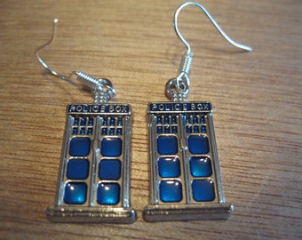 TARDIS Earrings, Police Box Earrings,  TARDIS Jewellery, Police Box Jewellery, Doctor Who Earrings, Doctor Who Jewellery,