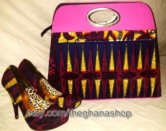 Ankara Print Ladies Heels with complementary Bag