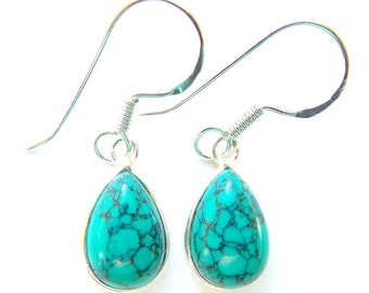 Stunning Hand Made Turquoise Teardrop Sterling Silver Earrings