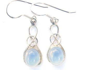 Beautiful Opalite Sterling Silver Oval Knot Earrings