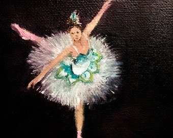 """BALLET DANCER original oil painting mini art from my """" sweets"""" collection gorgeous one of a kind piece of art Now******Free Shipping**** ."""