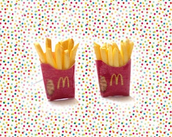 Miniature French Fries Fast Food Earrings