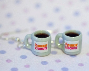 Miniature Dunkin Donut Coffee Earring with Silver Plated or Sterling Silver your choice
