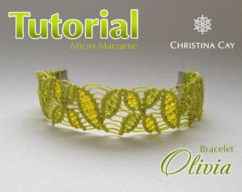 "TUTORIAL PDF Micro-Macrame bracelet ""Olivia"" pattern beaded macrame"