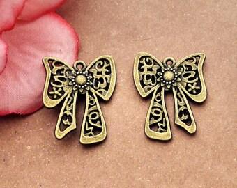 100pcs 20x25mm antique bronze bowknot pendants bowknot charms knot pendant knot charms Y3794