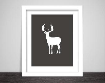 Deer Art, Grey and White Print,Grey and White Art,Deer Print,Wall Print,Printable,Downloadable,Printable Art,Animal Art,Geometric Art