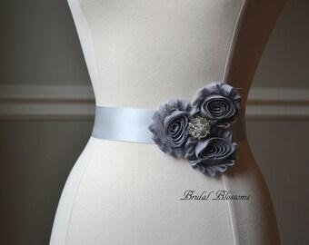 LORYN Gray Vintage Inspired Bridal Sash   Shabby Chiffon Flower Wedding Dress Sash   Belt Ribbon   Bridesmaids Rhinestone Silver   Child