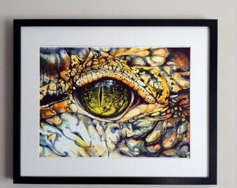 Crocodile Eye Close up Print from original watercolor painting