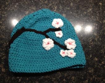 Crochet cherry blossom hat