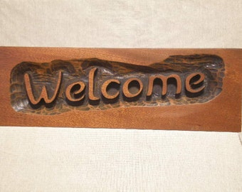 Welcome Sign Carving Deep Relief