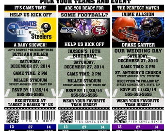 Printable BIRTHDAY Party INVITATIONS Football Wedding Invitations Baby Shower Ravens Steelers Browns Giants 49ers Pick any team or event