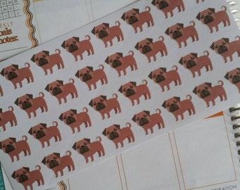 Pug Stickers! Dog Stickers! Perfect for your Erin Condren Life Planner, calendar, Paper Plum, Filofax!