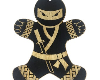 Ninja Gingerbread Man Christmas Ornament