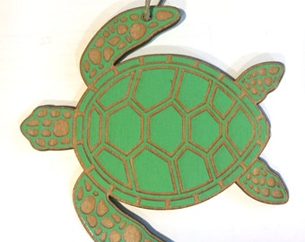 Wooden Green Sea Turtle Christmas Ornament