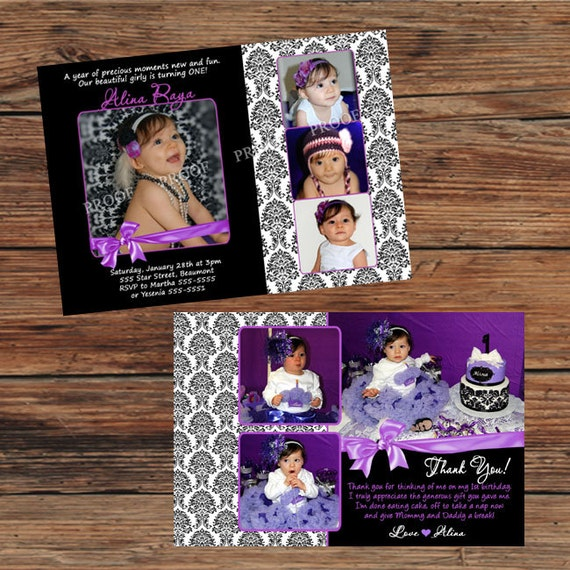 Damask Purple Lavender Birthday Party Invitations or Thank You Cards ...