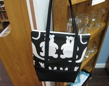 Cute animal pattern denim and lined handmade Tote Bag