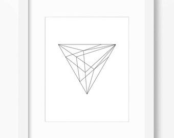 Geometric Print, Minimalist Art, Geometric Shape Print, Triangle Art, Black and White, Minimalist Print, Geometry Art, Math Art, Line Art