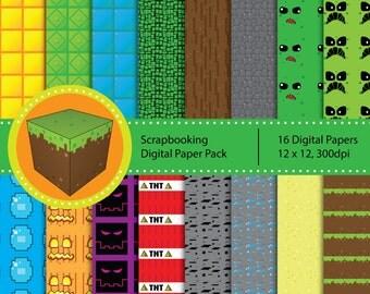 Mineventure Scrapbooking Papers - Instant Download - 16 Patterns