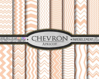 Apricot Chevron Digital Paper Pack - Instant Download - Digital Scrapbook Paper with Chevron Stripe
