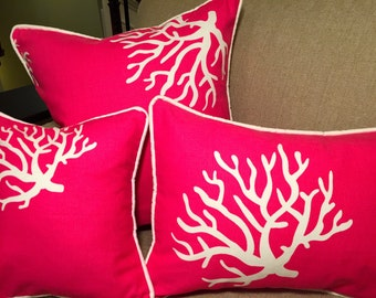 """12"""" Decorative Coral Pillow Corded Cover - Pink and White 12x12"""