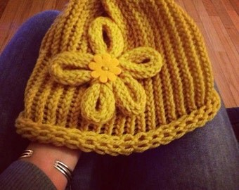 MADE TO ORDER -  Knitted Flower Hat