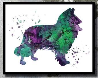 Rough Collie Watercolor Print Lassie Dog Art Print Dog Watercolor Home Decor Watercolor painting Dog Illustration Children's Wall Art Giclee