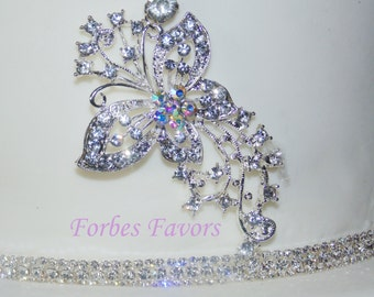 Real Rhinestone Flying Butterfly Cake Push In