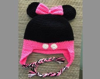 Handmade Crochet Minnie Mouse Hat with Buttons