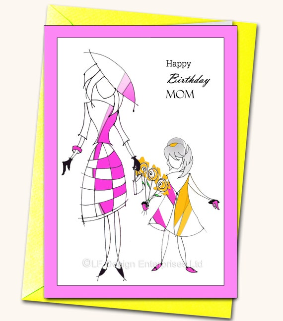 happy birthday mom daughter greeting card personalised card, Birthday card