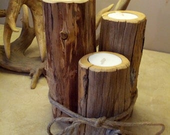 Ozark Cedar Pillar Candle Holders