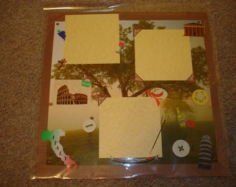 Premade 12x12 Scrapbook Page - VACATION / TRAVEL / ITALY!