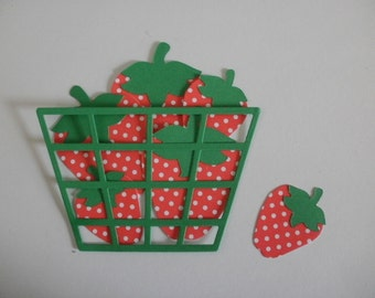 6 Die Cut Polka Dot Strawberries and Basket Embellishment for Scrapbooking or Card Making