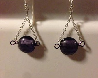 Purple glass beads with chains