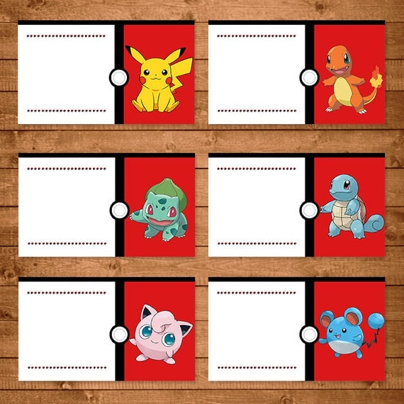 Pokemon Food Tent Labels Red & White Pokemon Food Labels