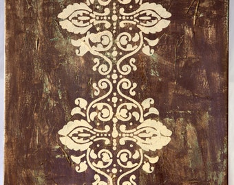 Acrylic sage green and brown with cream stencil  canvas is 16 in x 20 in - Imperfection