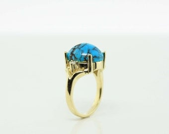 6.29ct Persian Turquoise and Diamond Ring