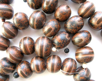 Earthy wood beads, 21 by 16mm, shades of brown, 6 beads - # 443