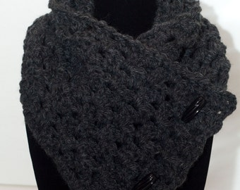 Charcoal Color Neck Warmer Scarf with Functional Black Toggles