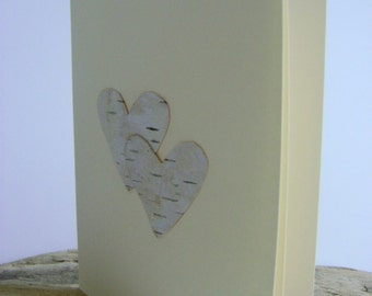 Birchbark Card With Hearts